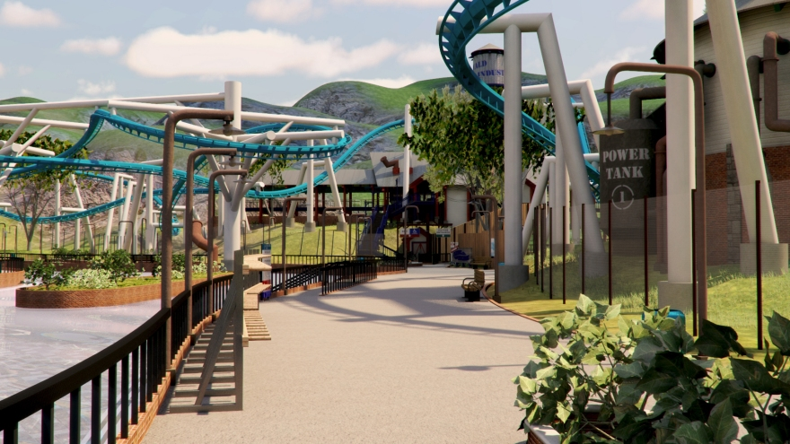 Looking towards the Amazing Flying Machine roller coaster