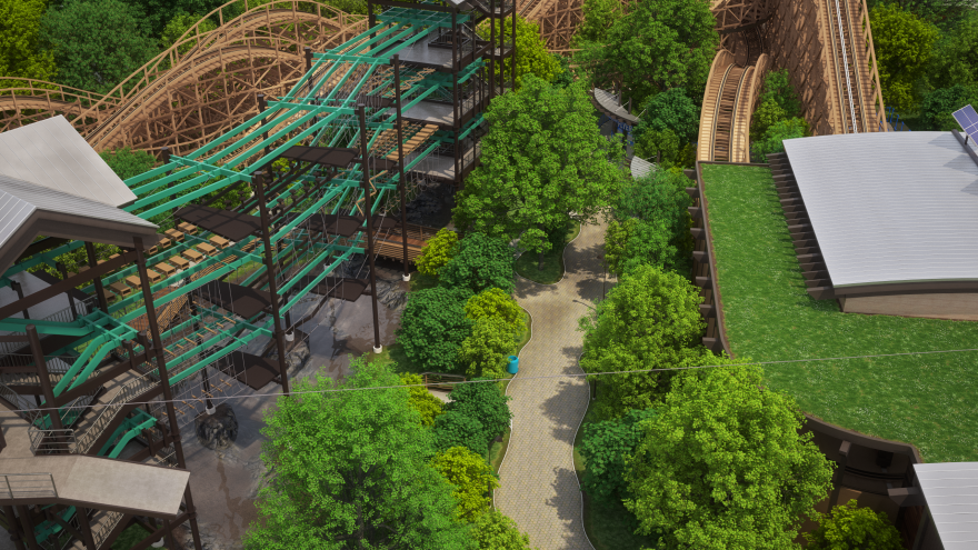 Overhead view of the park's harnessed play course and wooden roller coaster. The idea is to have a balance between traditional amusement park attractions and active play structures.