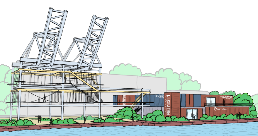 The entire Savannah Port Museum development would consist of an enclosed museum made from shipping containers that celebrates the Port of Savannah's past, and a fun ropes course that celebrates the port's present and future.