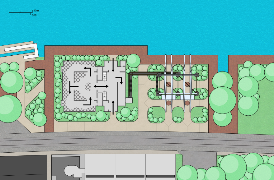 Overall site plan showing the museum's interior with an overlay designating thematic and interactive elements.